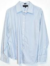 Jones New York Signature Woman Non Iron Blue & White Pinstripe Button-Up Blouse  image 1