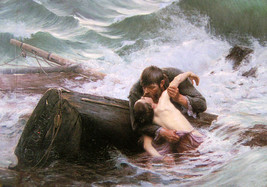 Oil painting Art J. W. Waterhouse adieu Farewell Lovers in ocean shipwre... - $36.45