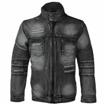 Contender Men's Distressed Multi Pocket Zip Up Cotton Denim Jean Jacket 9DJ03 image 4