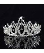 carddoor Bridal Tiaras & Crowns Headband Flower Silver Rhinestone Weddin... - $15.33