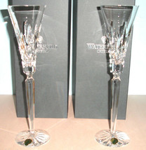"Waterford LISMORE JEWELS Clear Diamond Toasting 2 Flutes #149722 12""H New - $248.90"
