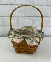 Vintage 1993 Longaberger Basket with Protector & Floral Cloth Ruffled Liner - $22.95