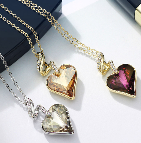 Es four color heart love chain necklaces   pendants for women 2017 gift india jewelry js4 he1 12
