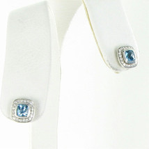 David Yurman Color Classic Stud Earrings Diamond 0.21ct Blue Topaz 925 New $895 - $669.29