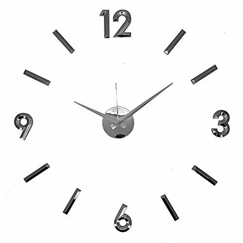 Modern Home Self Adhesive DIY 3D Wall Clock - Metallic Black
