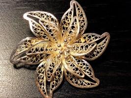 STERLING SILVER 925 ART FILIGREE FLOWER PIN BROOCH - $27.72