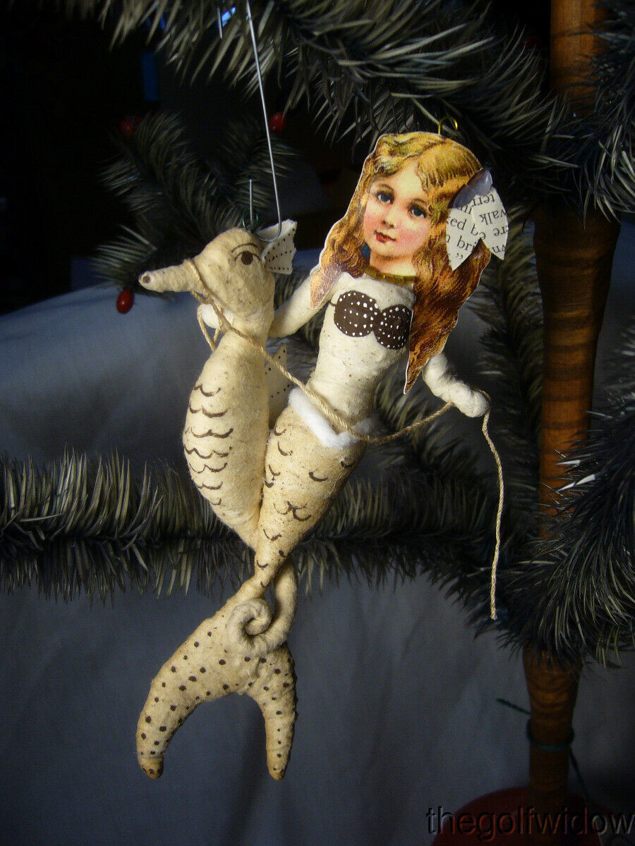 Vintage Spun Cotton Christmas Ornament Mermaid on Seahorse no.E30