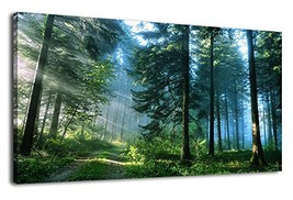 Green Forest Canvas Wall Art Living Room Wall Decor Long Nature Painting... - $55.31