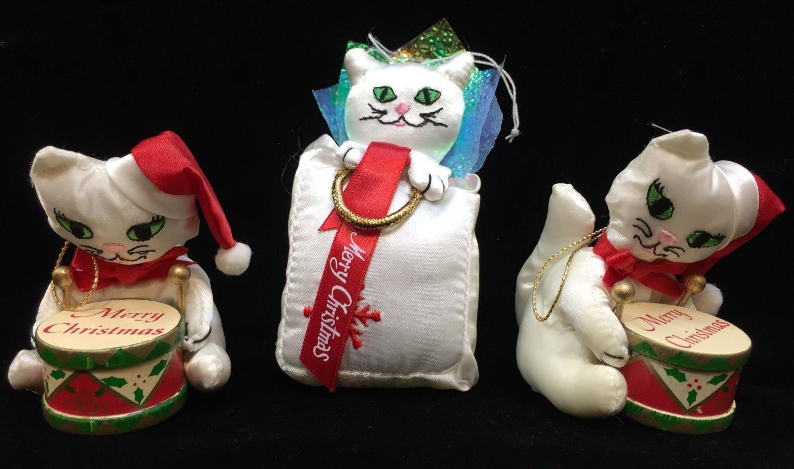 Primary image for Cat Ornaments Russ Berrie Playing Drums In Bag Holding Halo Hanging Christmas 3