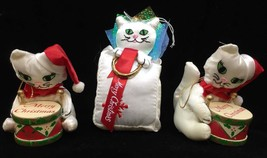 Cat Ornaments Russ Berrie Playing Drums In Bag Holding Halo Hanging Christmas 3 - $14.84