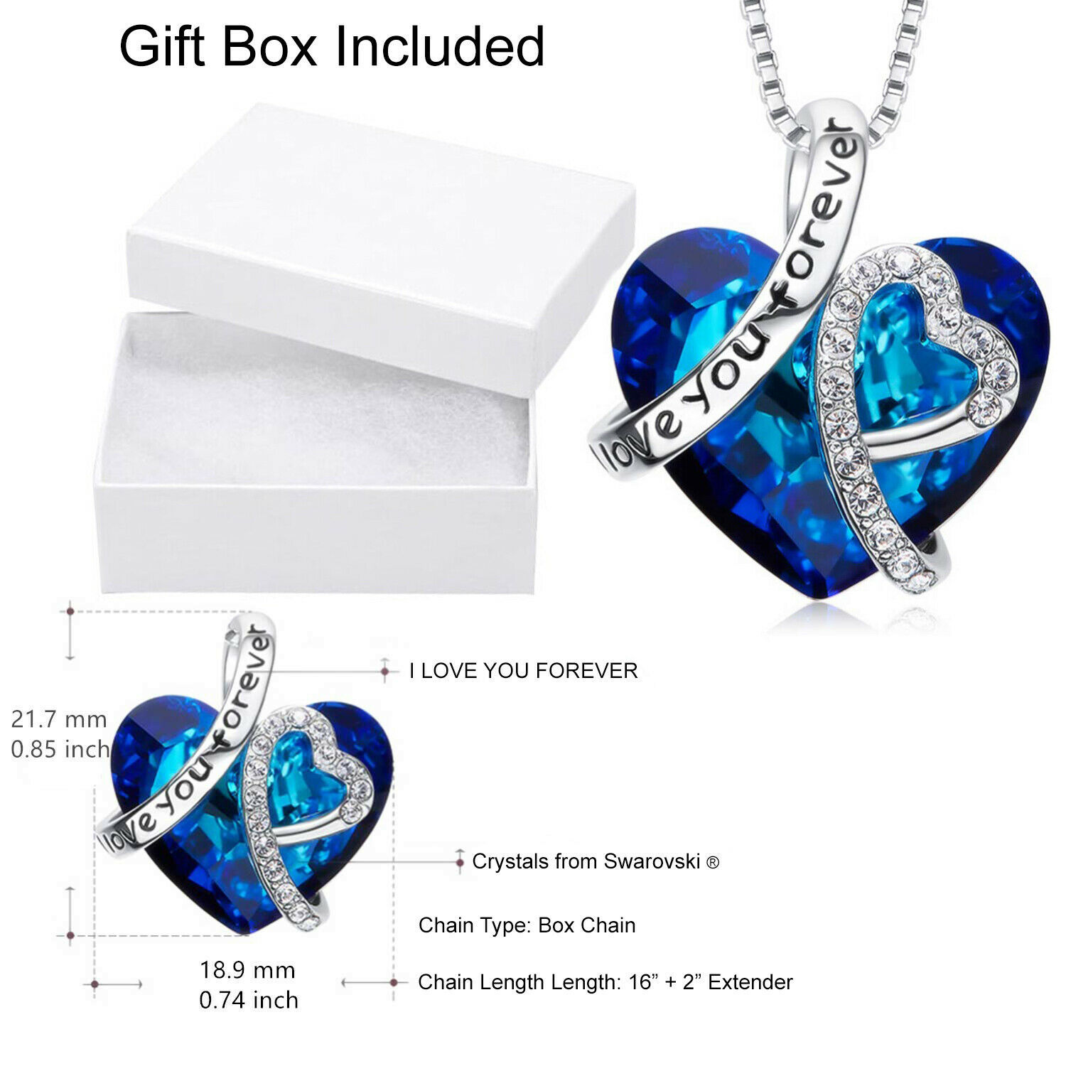 Sterling Silver Necklace Swarovski Element Crystal Love Heart Pendant Gift BoxE4