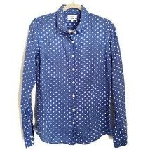 J.Crew Linen Polka Dot Perfect Fit Button Up Shirt Size 6 Blue White  - $17.99
