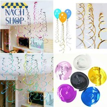 Happy Birthday Decorative 6Pc/Pack Metallic Ceiling Hanging Swirl For Ba... - $4.72