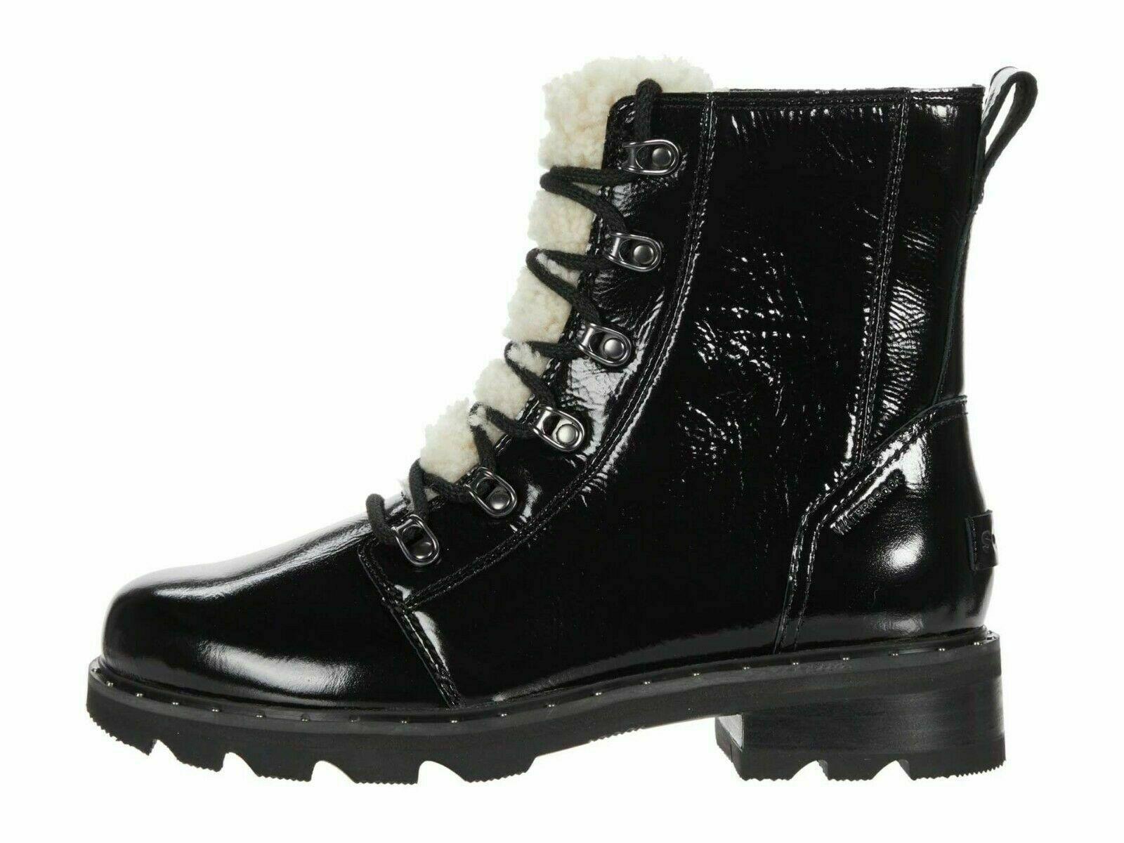 Sorel Lennox Lace Cozy Black Patent Women's Winter Boots 1929861010 - $179.00