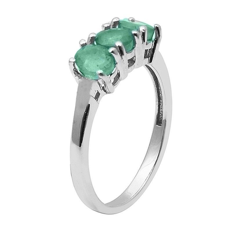 Emerald Three Gemstone 925 Sterling Silver Ring Shine Jewelry Size-7 SHRI1485
