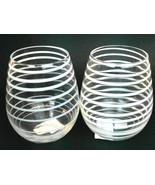 Kate Spade Lenox Charlotte Crystal Stemless Wine Glass Set of 2 White Swirl - $29.10