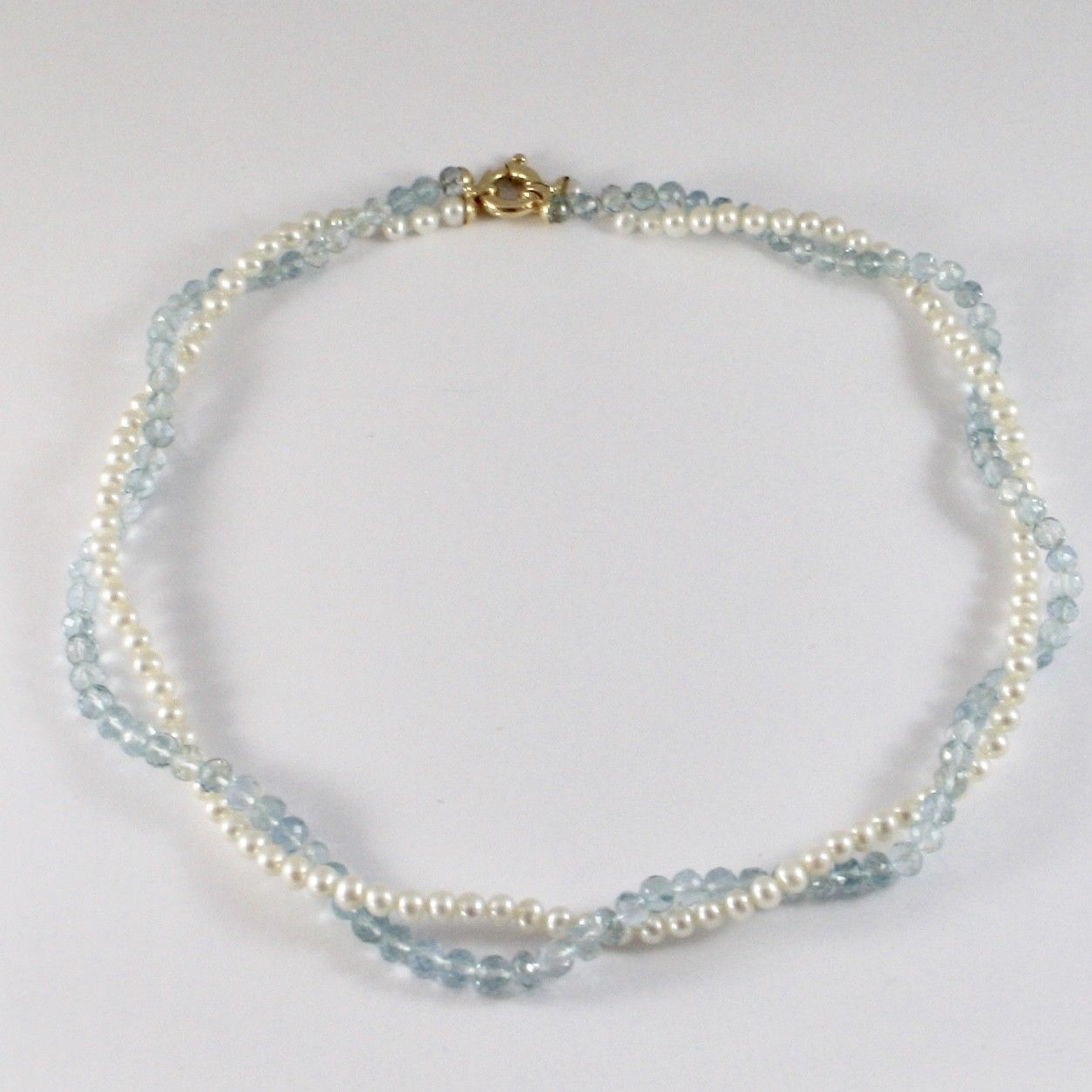 NECKLACE YELLOW GOLD 18KT WITH PEARLS WHITE AND AQUAMARINE NATURAL FACETED