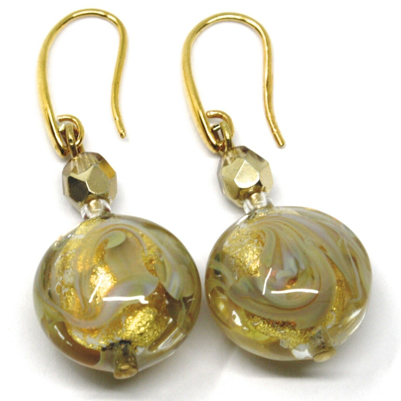 PENDANT HOOK EARRINGS YELLOW DISC MURANO GLASS GOLD LEAF MADE IN ITALY