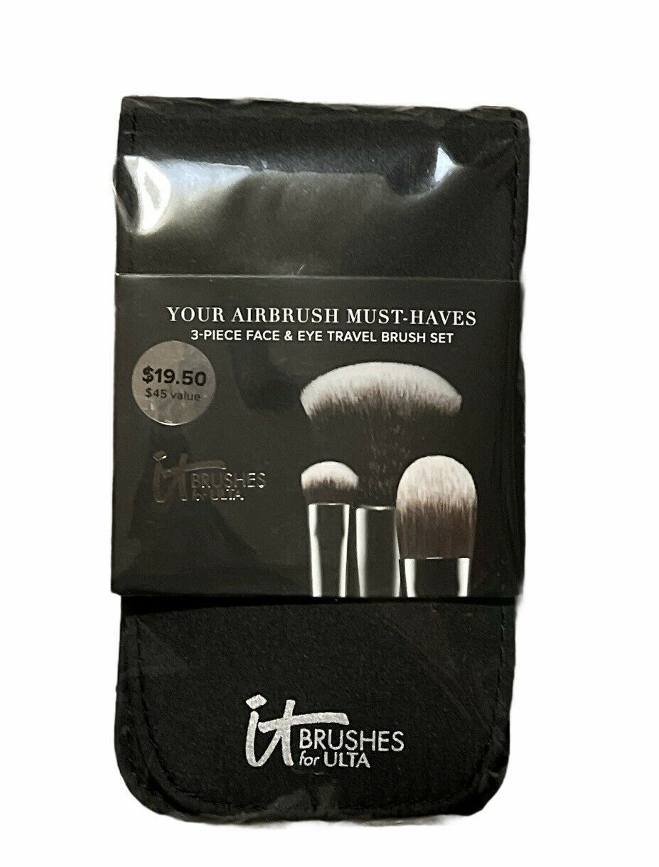 It Cosmetics Your Airbrush Must Haves 3 Piece Face & Eye Travel Brush Set NEW - $19.00