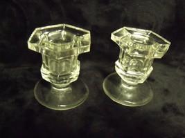 """PAIR OF 2 3/8"""" SHORT HEXAGONAL PRESSED FLINT GLASS CANDLESTICKS - $23.76"""