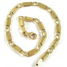 18K YELLOW GOLD BRACELET WITH FLAT ALTERNATE 4 MM OVAL  LINK MADE IN ITALY image 1