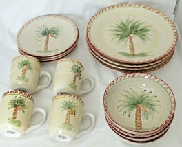 Palm Tree Dinner Bowl Cup Plate Bread Butter Set 4 Stoneware Red Edge Gi... - $18.76+