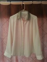 Banana Republic Womens Long Sleeve Button Down Off-White Shirt Size Medium - $14.50