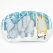 Fused Art Glass Winter Aspen Wolf Pack Design Oval Soap Dish Handmade in Ecuador image 2