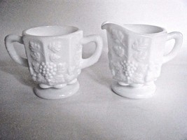 Westmoreland Milk Glass Sugar & Creamer Set Paneled Grape Pattern - $11.83