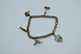 Vintage Copper Charm Bracelet w 5 Charms*Rare WWII TORPEDO**PUSH MOWER**... - $28.01