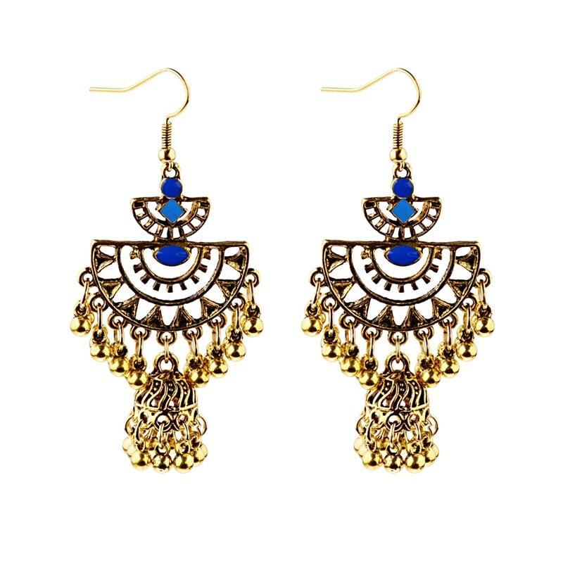 Primary image for DOUVEI Water Drop Turkish Vintage Jhumka Drop Earrings Women's Silver Gold Bells