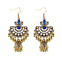 DOUVEI Water Drop Turkish Vintage Jhumka Drop Earrings Women's Silver Go... - $8.74