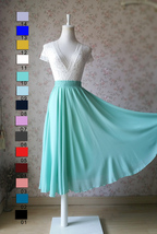 MINT GREEN Full Circle Long Chiffon Skirt Plus Size Mint Wedding Chiffon Skirt image 7