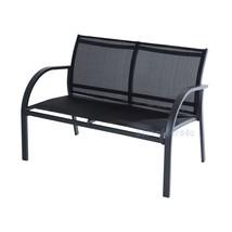 Luxury Garden Set 4pcs Contemporary Black Textilene Mesh Sofa Table 2 Chairs New image 2