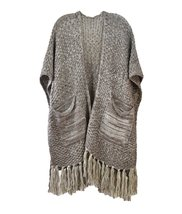 Le Nom solid Color Knitted Fringe Ruana (Taupe) - $24.74