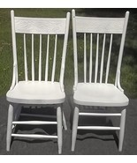 2 Wood kitchen chairs with pressed back design;country farmhouse;white;C... - $199.99