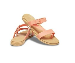 Crocs Tulum Toe Post Women's Sandal 206108-82R Grapefruit/Tan Sz 6 8 9 10 - $19.96