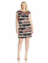 Adrianna Papell Women'S Size Striped Shift Dress W/Cap Sleeve Plus - $84.14+