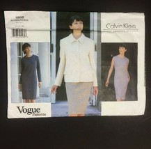 Calvin Klein Vogue Sewing Pattern Uncut FF 1868 Jacket Dress Size 12 14... - $19.39