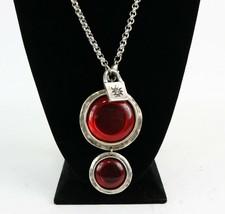 Vintage 925 Sterling Silver Signed UNO DE 50 Red Resin Medallion Necklac... - $179.99
