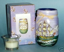 3-Masted Sailing Ship Candle Holder with Candle - NIB - $6.85