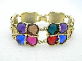 VTG Styled Gold Tone Multi Colored Plastic Rhinestone Clasp Bracelet - $29.70