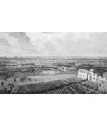 FRANCE Paris View from Montmartre  - 1821 Engraving Print Cpt. Batty - $16.20
