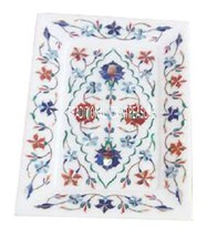 """9""""x12"""" White Marble Tray Plate Rare Gemstone Marquetry Floral Work Inlay... - $169.59"""