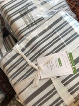 Pottery Barn Antique Style Striped Duvet Cover Charcoal King 2 Standard ... - $188.99