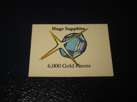 1980 TSR D&D: Dungeon Board Game Piece: Treasure 6th Level Card- Huge Sapphire - $1.00
