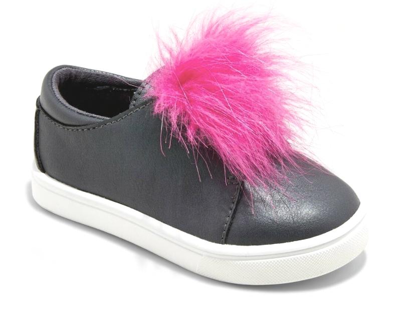 Cat & Jack Kleinkind Mädchen Vella Schwarz Kunst Pink Pelz Low Top Slipper Nwt