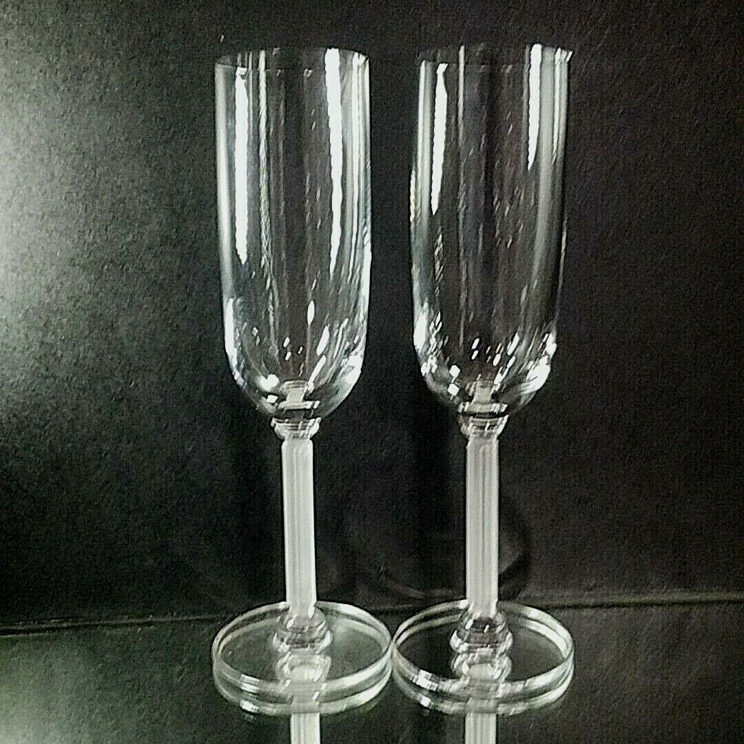 2 (Two) VINTAGE MIKASA HORIZON Frosted Stem Lead Crystal Champagne Flutes