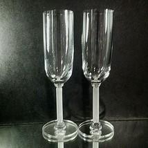 "2 (Two) VINTAGE MIKASA ""Horizon Frosted Stem"" Lead Crystal Champagne Flutes - $27.54"
