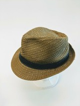 Dobbs Fifth Avenue Woven Straw Summer Fedora Hat Size 7-1/4 Camel - $33.87